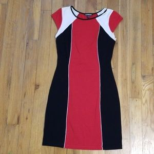 Womens color block stretch dress